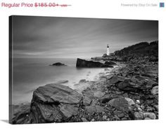 Beach Decor Canvas Gallery Wrap Large Wall Art Black White Lighthouse Ocean Beach Portland Head Light Maine Photo Coastal Oversized Print