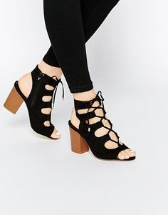 New Look Wide Fit Lace Up Block Heel Sandal