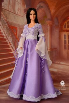 Luxurious dress elven princess. Soft blue color with silver lace. The dress is made of satin, lined. Sleeve chiffon, is decorated with lace and