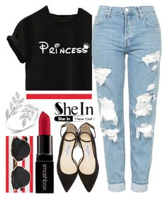 """""""Modern princess style"""" by furtosalexandra ❤ liked on Polyvore featuring Topshop, Jimmy Choo, Smashbox, Anne Sisteron, Christian Dior and modern"""