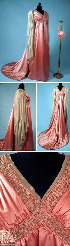 Rose pink evening gown, 1910, silk satin. In the Aesthetic style, high waist, bead- and pearl-trimmed bands that criss-cross around bustline. Trained skirt, long Renaissance-style cream chiffon sleeves with pearl & bead edges. Small matching shield-shaped evening bag. Augusta Auctions