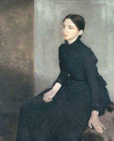 Vilhelm Hammershøi Portrait of a young woman. The artist's sister Anna Hammershøi 1885 Oil on canvas. 112 x 91.5 cm Artodyssey: Vilhelm Hammershøi
