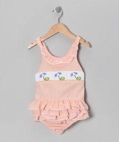 Orange & White Beach Smocked Sunsuit - Infant & Toddler