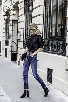 anine bing outfit denim blouse belt clutch