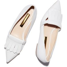 Rupert Sanderson Gretna White Calf Fringe Flat Goop ❤ liked on Polyvore featuring shoes, flats, white flats, pointy-toe flats, leather flat shoes, pointed toe shoes and white shoes