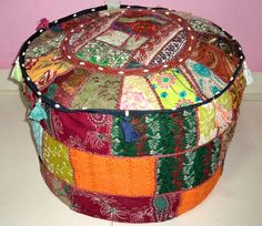 HANDMADE ROUND SEATING POUF COVER FOOT STOOL BOHEMIAN PATCHWORK OTTOMAN UNFILLED #Handmade #Traditional