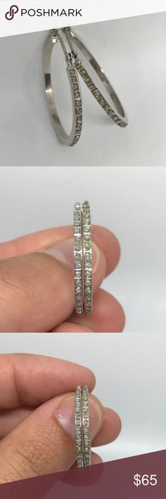 NEW Sterling Silver Diamond Hoop Earrings Sterling Silver Diamond Hoop Earrings. My pup just had surgery and I'm trying to recuperate some costs, so I have priced to sell! Brand for exposure. Does not come with original packaging. Tiffany & Co. Jewelry Earrings