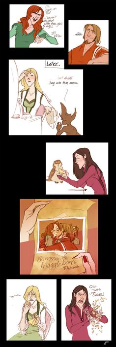One of my favorites - Andromeda messing with her sisters  - art by Makani, #Harry #Potter