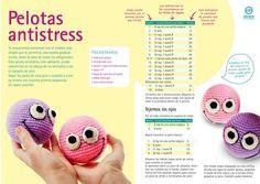 Pelotas Anti Stress Amigurumi - Patrón Gratis en Español ༺✿ƬⱤღ  https://www.pinterest.com/teretegui/✿༻