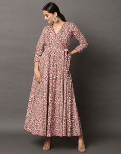 Pink Floral Angrakha Maxi from the house of Rivaaj Clothing. This Set Has Angrakha. Hand block printed wrap around style angrakha with Designer Party Dresses, Salwar Dress, Dresses To Wear To A Wedding, Pakistani Designers, Pakistani Outfits, Indian Ethnic, Indian Dresses, Indian Fashion, Plus Size Dresses