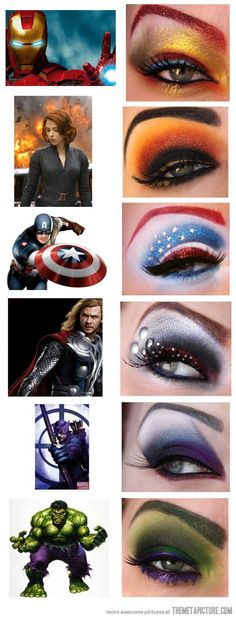 Superhero inspired makeup | Almost makes me wish I knew how to apply the stuff.