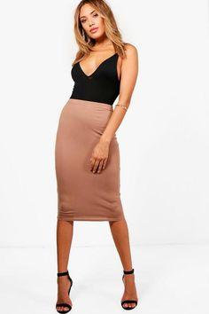 Mindy Basic Jersey Midi Skirt