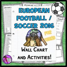 European Football / Soccer France 2016This resource pack is a great way of getting your students excited and involved in the UEFA Euro 2016 in France this June, whilst still teaching them about different cultures and developing their literacy skills! I have designed this resource with a Wall Chart to display in your classroom where your students can get really excited about the matches and record scores as they happen and even win prizes!