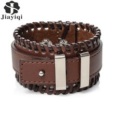 Jiayiqi Fashion Men Jewelry Black and Brown Wide Cuff Leather Bracelet Adjustable Handmade Vintage Punk Wristband //Price: $9.99 & FREE Shipping //     #hashtag4