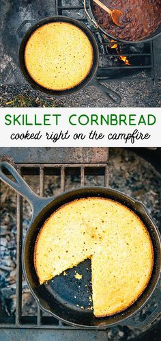Cornbread made from scratch, cooked in a skillet right over the campfire! A perfect camping recipe.
