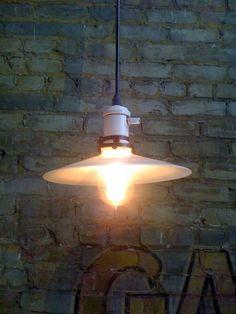 """restored vintage porcelain socket with old """"UFO"""" milk glass shade"""