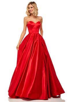 Sherri Hill - 52850 Strapless Sweetheart Long A-Line Satin Dress Gala Dresses, Satin Dresses, Sexy Dresses, Dressy Dresses, Club Dresses, Long Dresses, Long Formal Gowns, Formal Evening Dresses, Evening Gowns