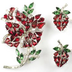 Trifari 'Alfred Philippe' Ruby and Emerald Red Rose Pin and Clip Earrings Set