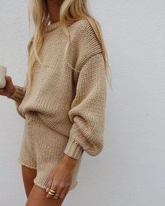 beige knit loungewear set #ootd #style #loungewear Look Fashion, Fashion Outfits, Fashion Tips, Fashion Trends, Bar Outfits, Vegas Outfits, Woman Outfits, Club Outfits, 80s Fashion