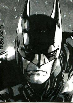 2.5x3.5 sketch card #inktober #batman #arkhamknight #brush #inkwash #cabaleiro #cabaleiroart #darkknight