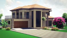Double Storey House Plans, Double Story House, Two Story House Design, Classic House Design, Village House Design, Unique House Design, House Plans Mansion, My House Plans, Bungalow House Plans