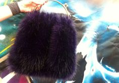 STERNENTAU handcrafted bags fake fur and other crazy stuff new flausch dark violet flausch bag Fur Bag, Fake Fur, Fur Slides, Austria, Dark, Handmade, Hand Made, Arm Work