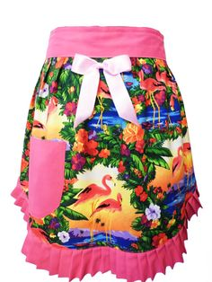 Hey, I found this really awesome Etsy listing at https://www.etsy.com/listing/170885310/pink-flamingos-half-apron