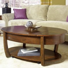 Concierge Oval Lift-top Cocktail Table by Hammary at Jordan's Home Furnishings Rustic Living Room Furniture, Acme Furniture, Furniture Deals, Furniture Making, Furniture Design, Round Wooden Coffee Table, Lift Top Coffee Table, Cool Coffee Tables, Wood Table