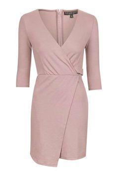 PETITE Ponte Wrap Mini Dress.