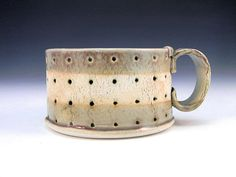 Hand Built Ceramic Cappucino Cup  Modern Rustic Oval by lbcooper, $23.00