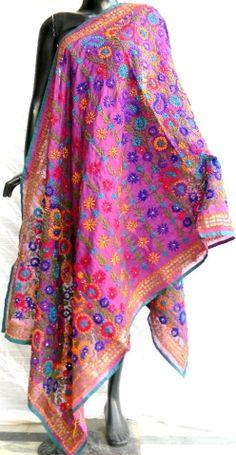 Hand embroidered Phulkari work Chanderi Dupatta in Purple