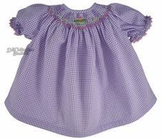 Lavender Gingham Smocked Dress for BITTY BABY + TWINS Dolls CUPCAKE