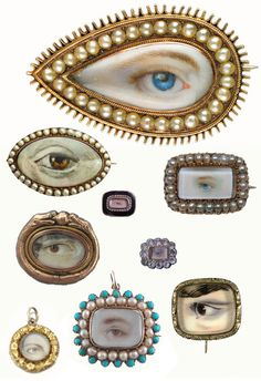 Lover's eyes are hand-painted portraits on ivory which were popular in England between the 1780s and 1830s. The history of this jewelry style is as juicy as the paintings are gorgeous. Since romantic love didn't typically exist within the confines of a marriage at this point in history, affairs were pretty common. So how would you show your loyalty to your lover? By wearing a sentimental portrait of an unidentifiable part of their person, of course.