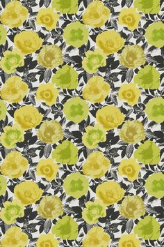 Madone Citrus  - Prestigious Fabrics - A contemporary fabric with a digital print of large flowers on a black and white background of foliage.