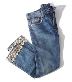 BROCK COLLECTION Silver Embellished Jean - Denim blue mid-rise fit featuring a straight leg silhouette with embellished trim detail at hem.