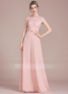 [US$ 106.49] A-Line/Princess Scoop Neck Floor-Length Chiffon Lace Bridesmaid Dress With Beading Bow(s) (007105589)