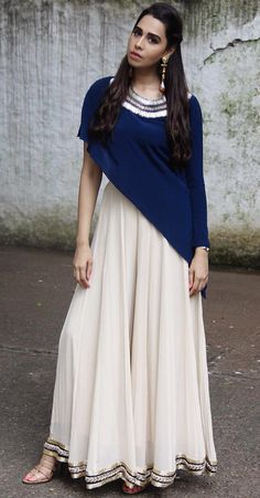 Anarkali with Sharara - In Trend - Indian Wear - Indian Dresses - Indo Western Wear Pakistani Dresses, Indian Dresses, Indian Outfits, Ethnic Dress, Indian Ethnic Wear, India Fashion, Ethnic Fashion, Indian Fashion Modern, Indian Fashion Trends
