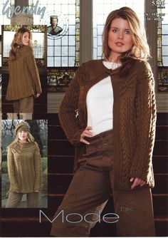 Wendy--Lady's Cable Jumper and Cardigan with Two Sleeve Lengths