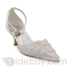 High Quality Upper Mid Heel Pumps with Stitching Lace Wedding Bridal Shoes