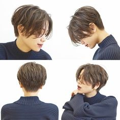 """Ne pas être un garçon"" cheveux courts avec une longue frange . Asian Short Hair, Short Hair With Bangs, Asian Hair, Girl Short Hair, Short Hair Cuts, Short Hair Tomboy, Korean Short Hairstyle, Asian Pixie Cut, Feminine Short Hair"