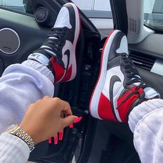 Nike Air Jordan 1 Black and Red Now available for € at PostuZap . Cute Sneakers, Sneakers Mode, Sneakers Fashion, Fashion Shoes, Shoes Sneakers, Kd Shoes, Air Jordan Sneakers, Nike Fashion, Jordan Shoes Girls