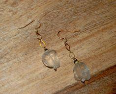 Rock Crystal Gemstone Earrings with Raw Green Onyx by RawLuxGems