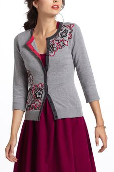 Embroidered Azalea Cardigan from @Anthropologie. A holiday/winter sweater I'd actually wear.