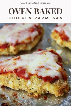 Recipe for Oven Baked Chicken Parmesan Easy - Oven Baked Chicken Parm Recipe, Oven Parmesan Chicken, Parmesan Chicken Breast Recipe, Easy Baked Chicken, Yummy Chicken Recipes, Oven Recipes, Skillet Chicken, Healthy Chicken, Chicken Freezer Meals