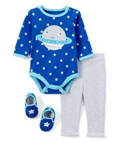 Blue & Gray 'I Need Some Space' Bodysuit Set - Infant #zulily #zulilyfinds
