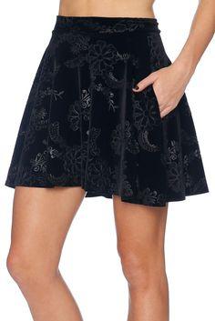 Embossed Velvet Floral Pocket Skater Skirt - LIMITED (AU $60AUD) by BlackMilk Clothing