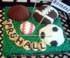 Homemade Sports Ball Birthday Cake: I made this Sports Ball Birthday Cake for my grandson's 2nd birthday.  He loves balls, his dad is a sports nut - so I went all out! All of the cakes are
