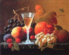 Natures mortes (fruits legumes et vin )