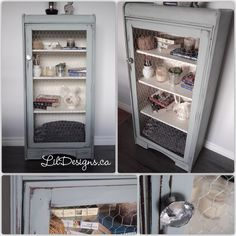 """Rustic Display Cabinet - $250  Charming rustic display cabinet, refinished in ASCP Duck Egg blue and waxed for protection. Chicken wire door and crystal knob.  Dimensions: Width: 23""""5 Depth: 12"""" Height: 48"""" Crystal Knobs, Duck Egg Blue, Chicken Wire, Just Do It, Bathroom Medicine Cabinet, Babe, Display, Rustic, Crystals"""