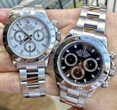 2 gorgeous pre-owned Rolex Daytona watches that we sold, we can locate watches for you anytime! Elegant Watches, Stylish Watches, Luxury Watches For Men, Beautiful Watches, Cool Watches, Rolex Watches, Mens Belts Fashion, Rolex Daytona Watch, Rolex Cellini